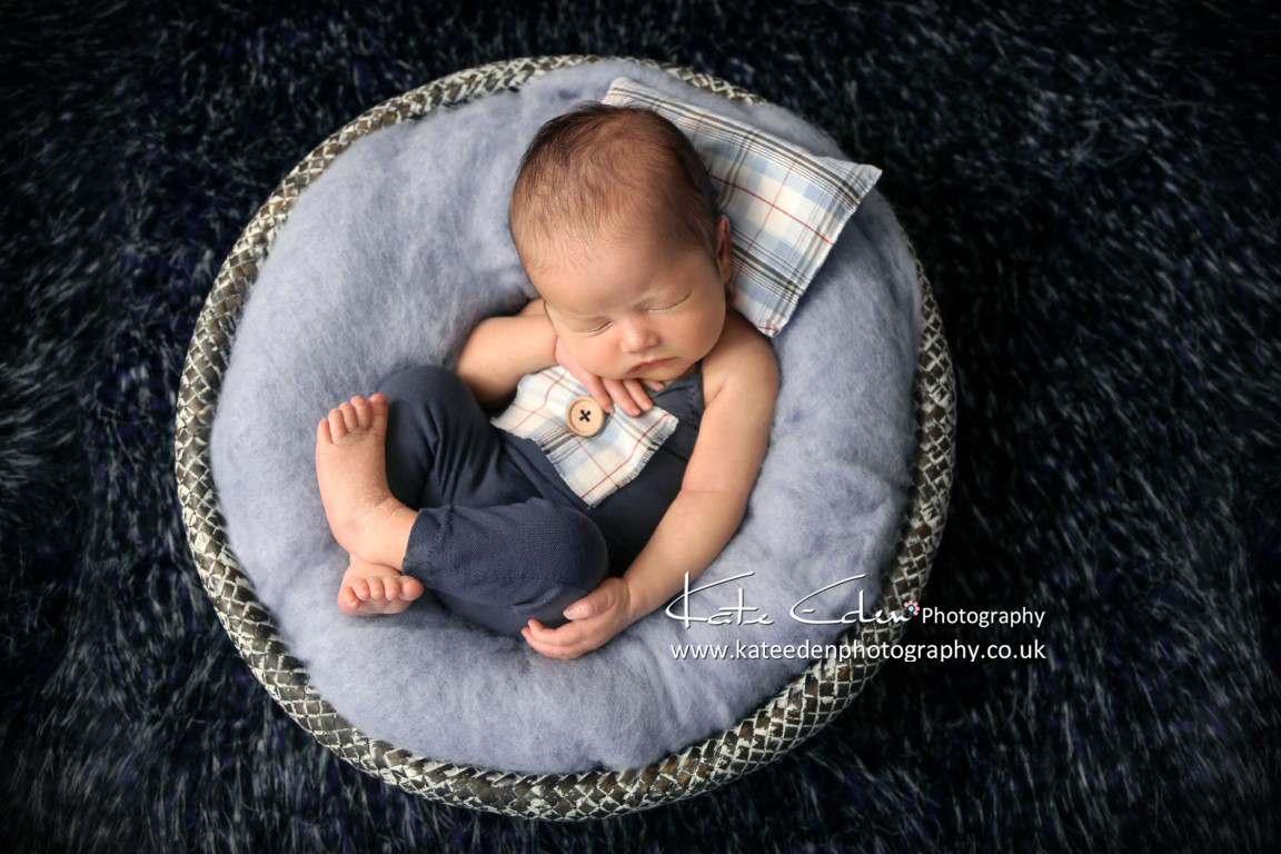 newborn baby boy in blue / newborn photographer Aberdeen Scotland