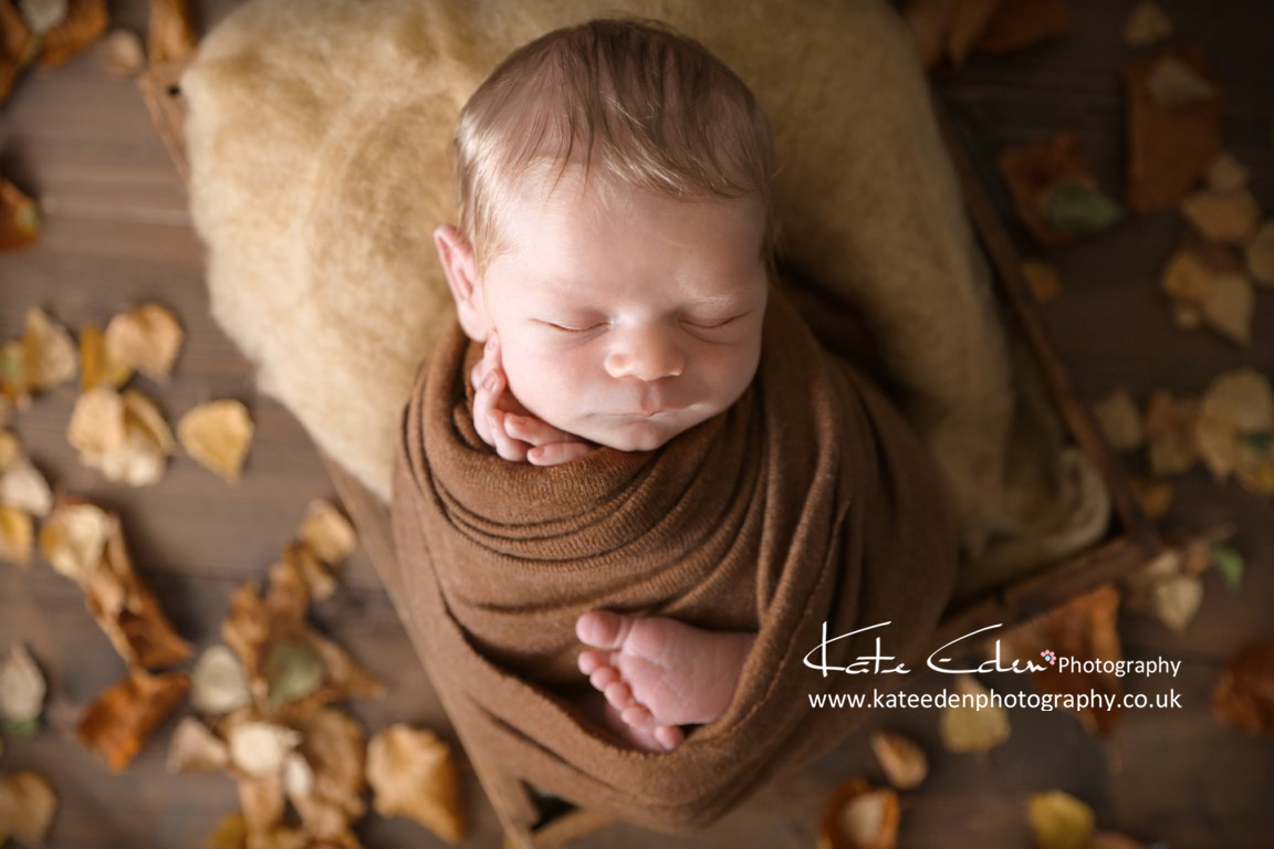 Newborn baby in autumn leaves