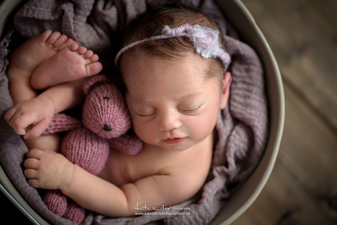 Newborn baby girl with her teddy - Milton Keynes newborn photographer - Kate Eden Photography