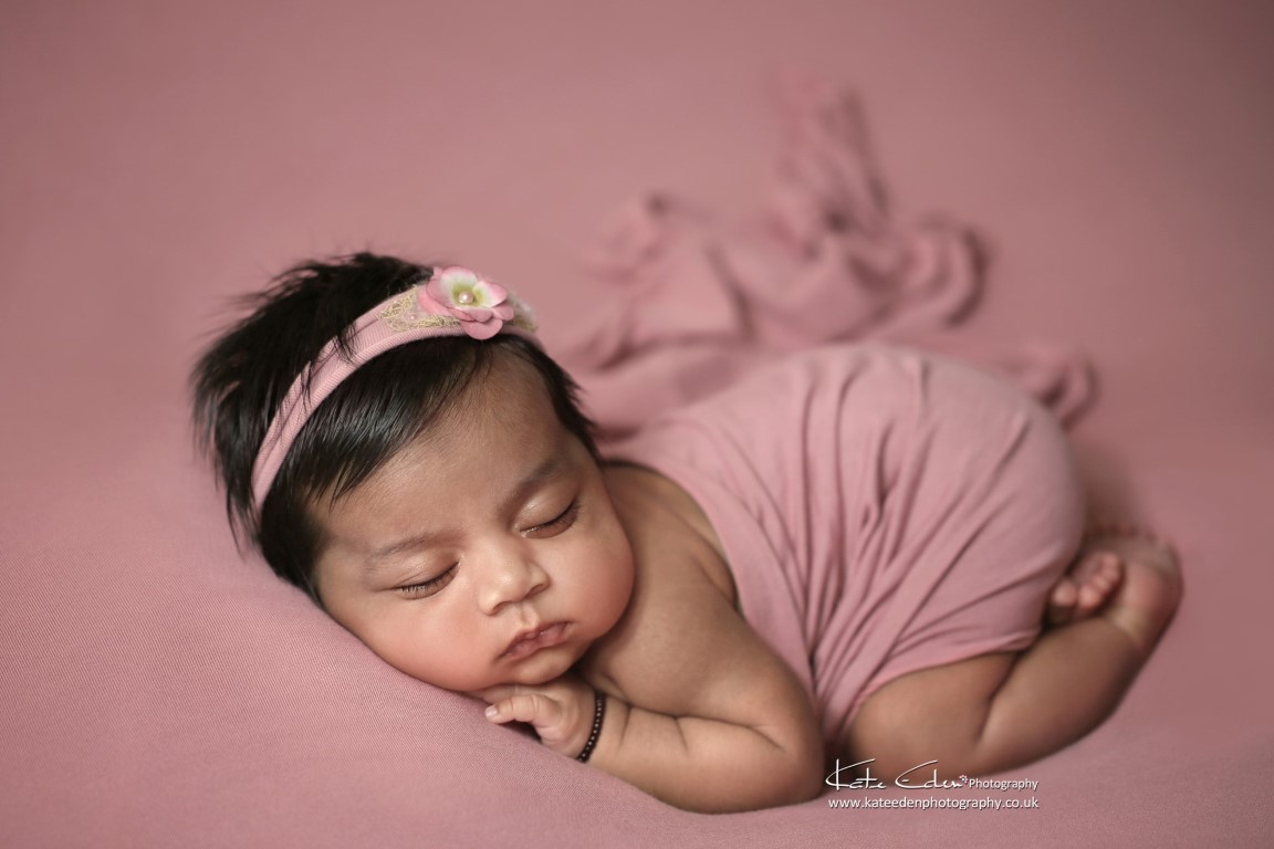 5 weeks old baby girl in pink - Kate Eden Photography - Milton Keynes newborn photographer