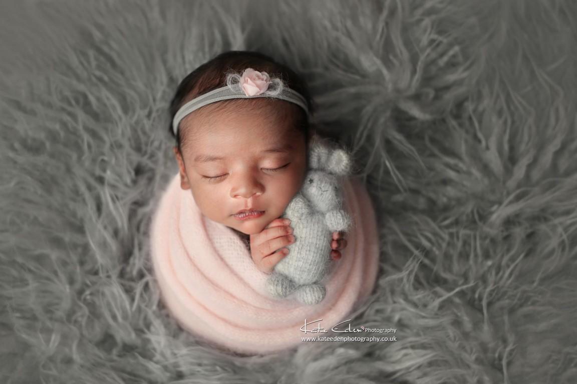 Newborn baby girl with bunny - Milton Keynes newborn photographer - Kate Eden Photography
