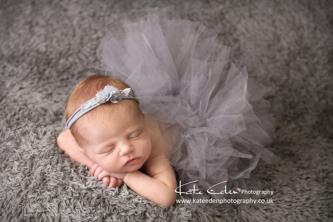 newborn baby girl in grey - newborn photographer Aberdeen Scotland