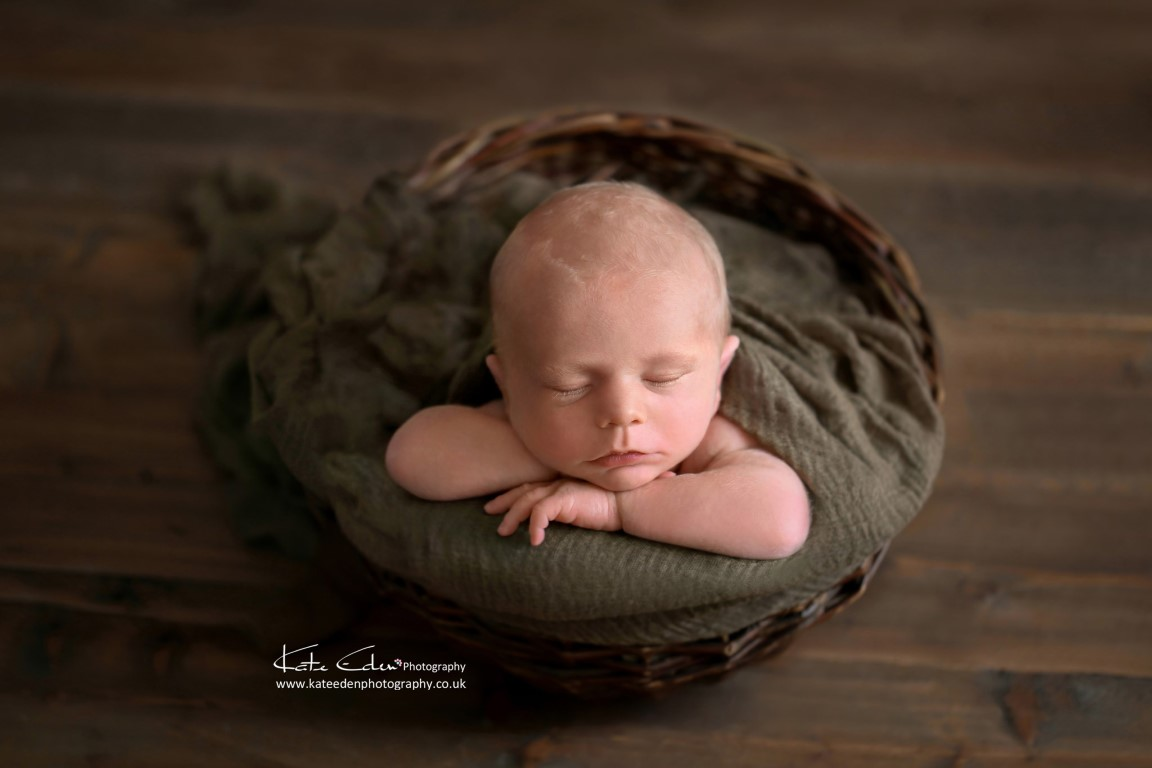 Newborn baby boy in a basket - Milton Keynes newborn photographer - Kate Eden Photography