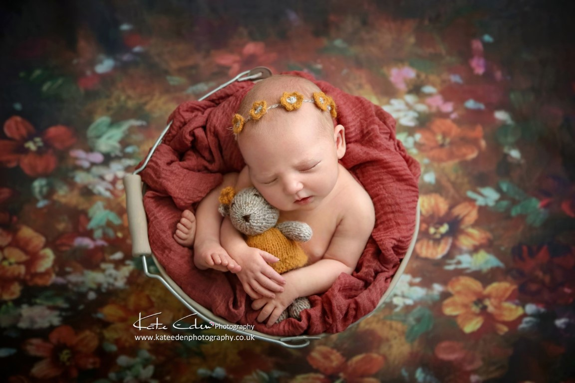 Newborn baby girl - Autumn photo session in studio - Kate Eden Photography