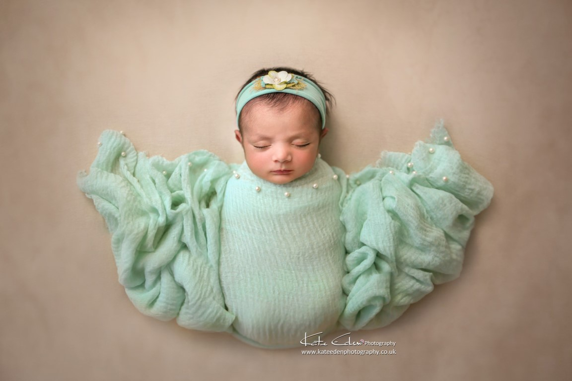 Newborn baby posing - butterfly - mint colour - Newborn photographer Milton Keynes - London - Buckinghamshire - Kate Eden Photography