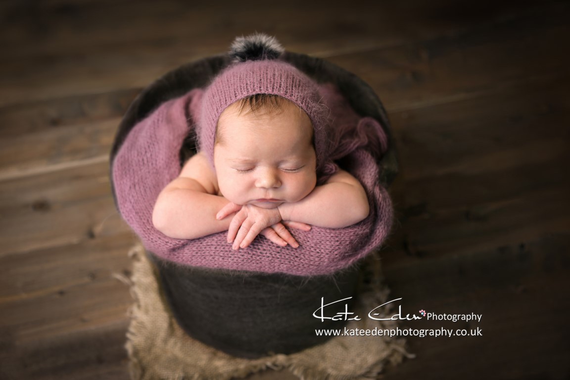 baby in the bucket - newborn photography Aberdeen Scotland