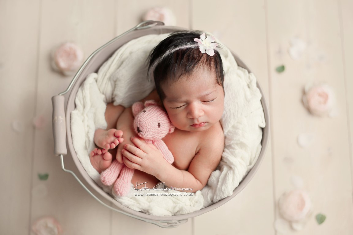 White and pink newborn photography - Kate Eden Photography - London Milton Keynes photographer