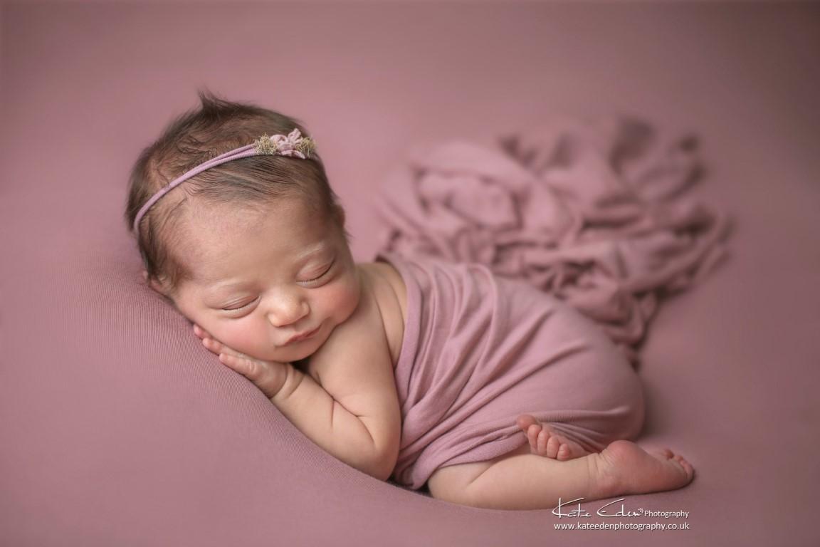 Newborn baby girl in pink - Kate Eden Photography - Milton Keynes