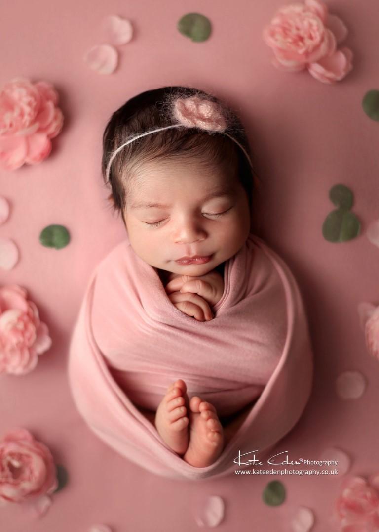 Newborn baby girl flower pose - Kate Eden Photography - Milton Keynes newborn photographer