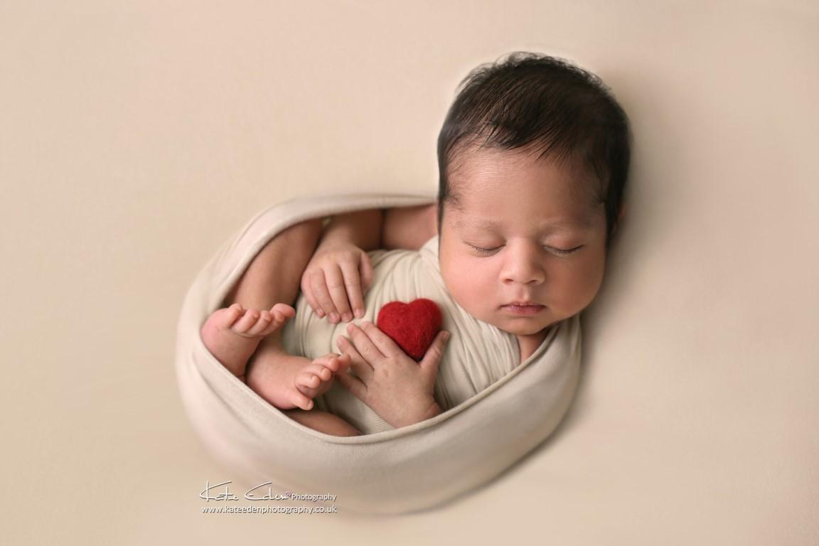 The Valentine newborn baby - Kate Eden Photography - Milton Keynes newborn photographer