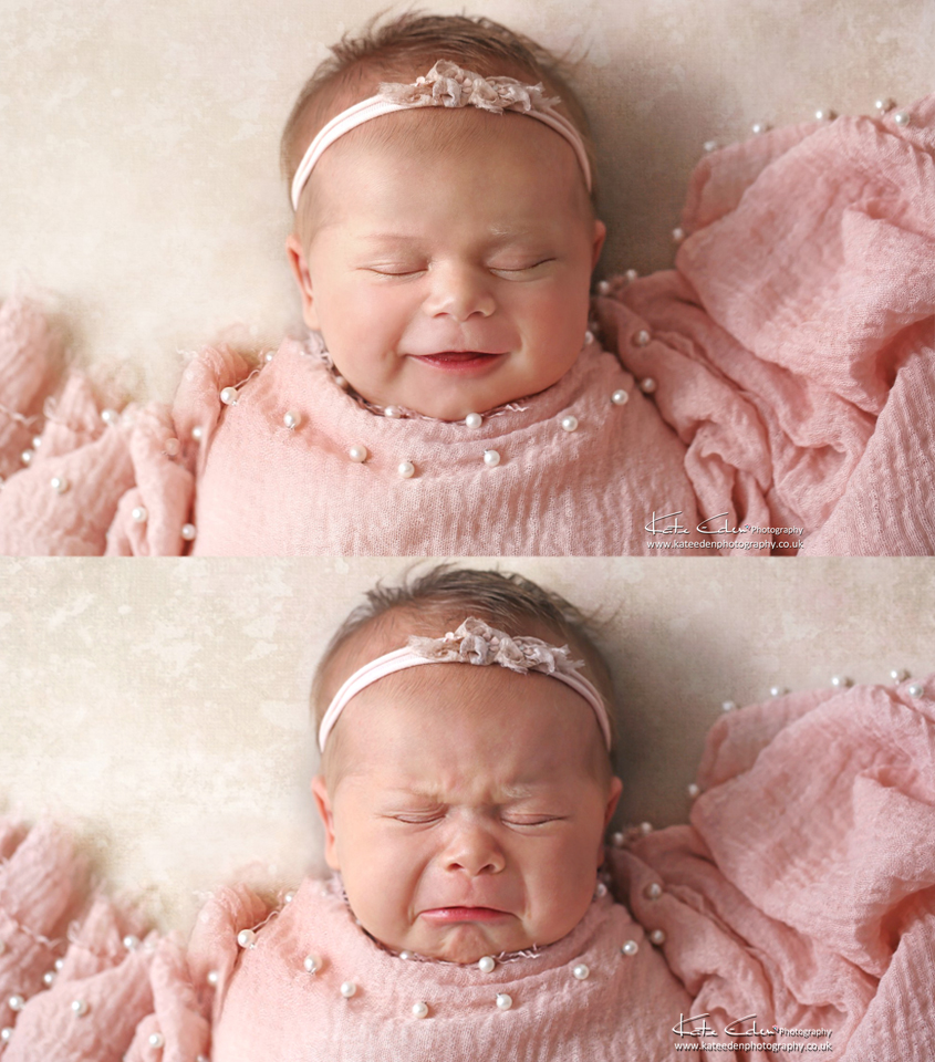 newborn baby in pink - Kate Eden Photography - Milton Keynes