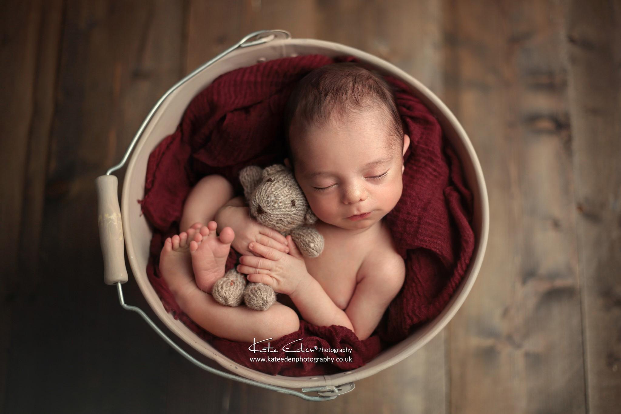 Newborn baby boy with teddy bear - Kate Eden Photography - Milton Keynes Newborn photographer