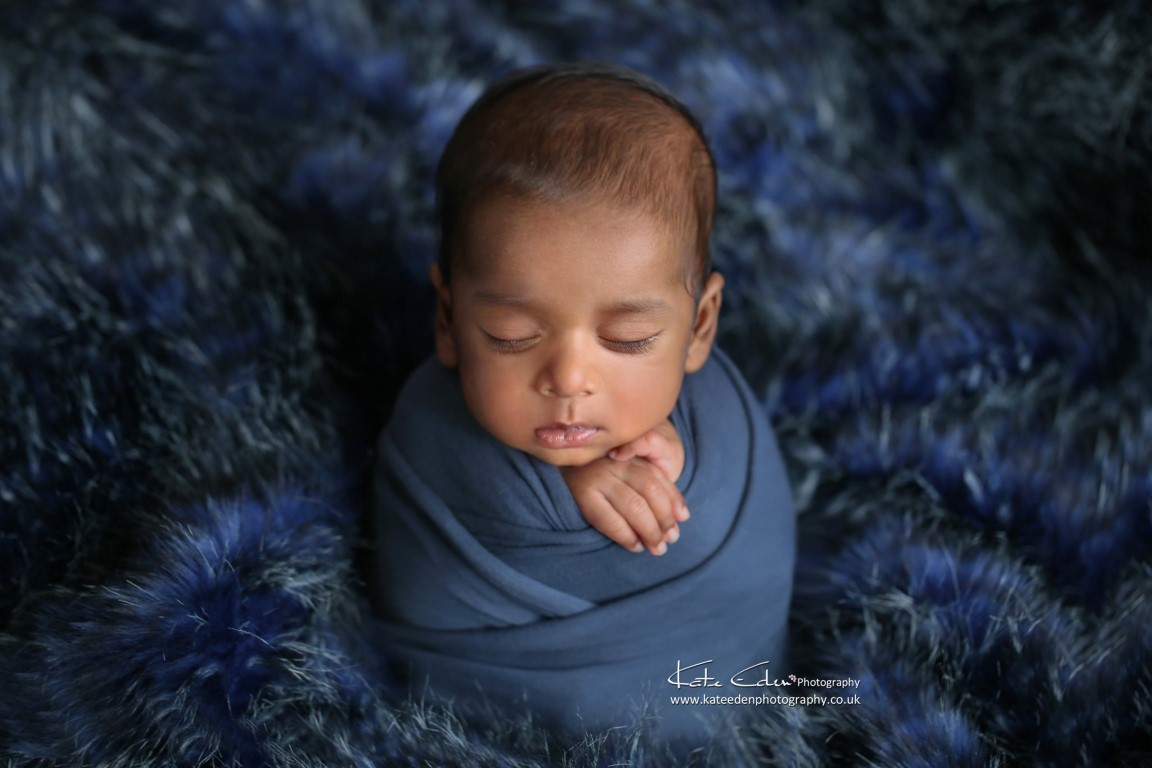 A handsome 10 weeks old baby boy in blue - Kate Eden Photography - baby photographer Milton Keynes