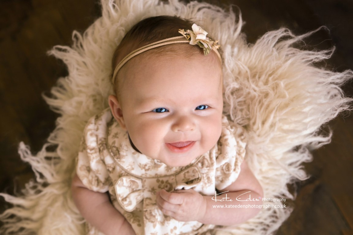 Happy 2-months-old baby girl - baby photographer Aberdeen