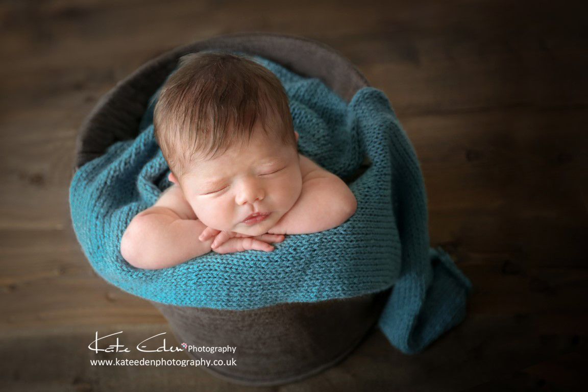 baby in the bucket - newborn photography Aberdeen