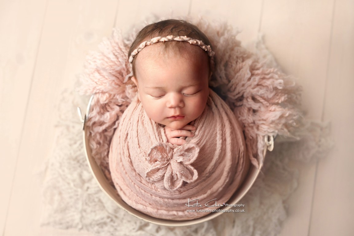 1-month old baby girl - creamy pictures - Kate Eden Photography - Milton Keynes newborn photographer