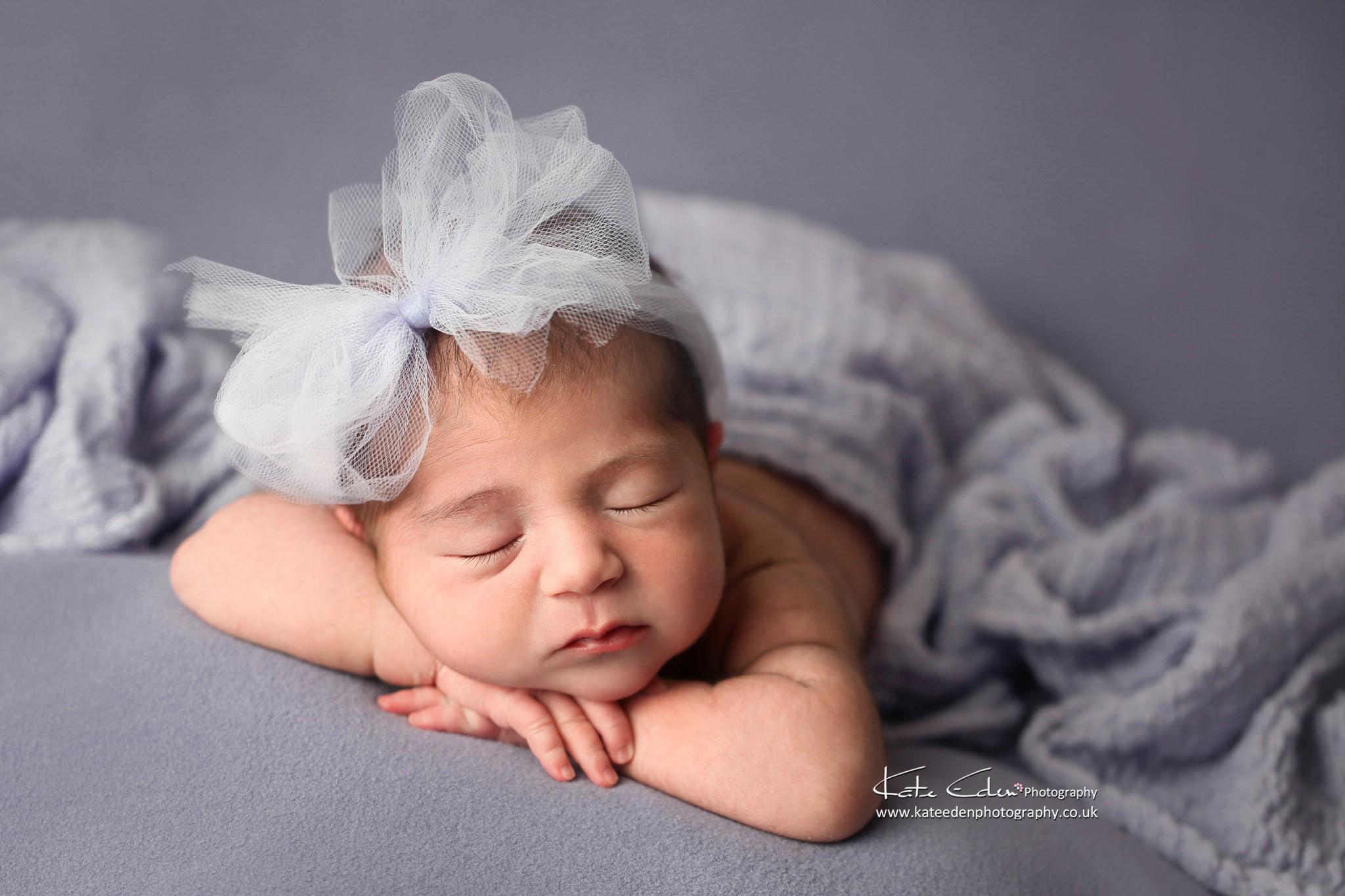 Newborn baby girl in lavender - London newborn photographer - Kate Eden Photography