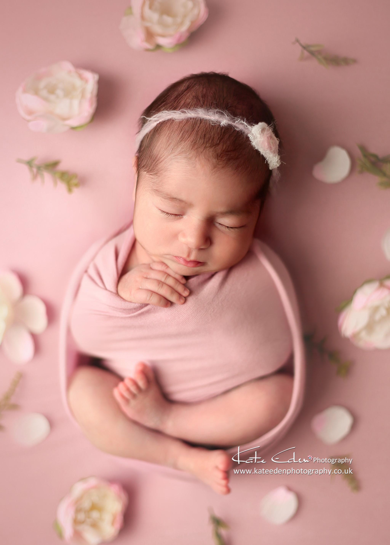 Newborn baby girl in flowers - Milton Keynes Newborn photography - Kate Eden Photography