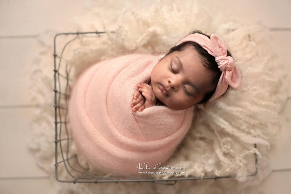 Newborn baby girl in pink - Kate Eden Photography - Milton Keynes newborn photographer